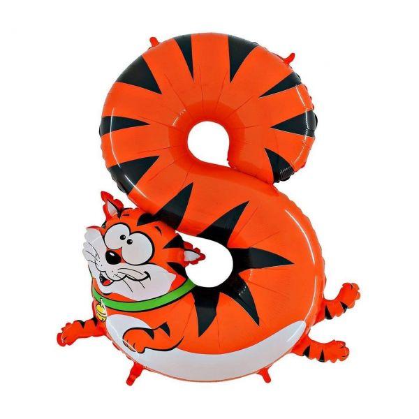 GRRABO 48-0WE-P - SuperShape - Folienballon Riesenzahl 8, Katze 100cm