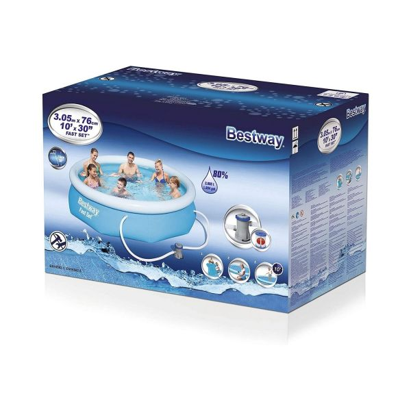 BESTWAY 57270 - Planschbecken - Fast Pool-Set mit Filterpumpe, 305x76cm