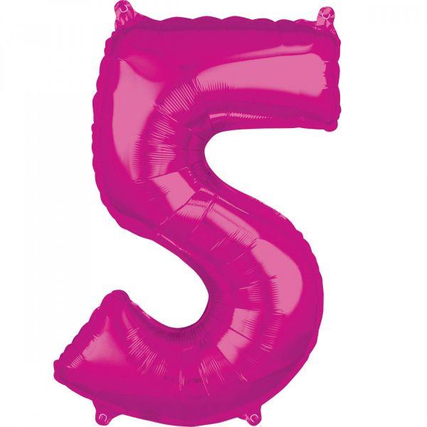 AMSCAN 36620 - Folienballon - Zahl 5, pink, 66 cm
