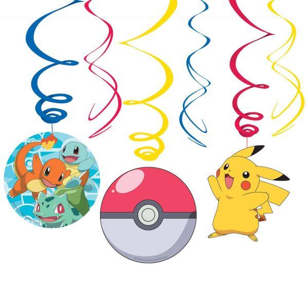 AMSCAN 9904830 - Pokemon - Dekospiralen, 6 Stück