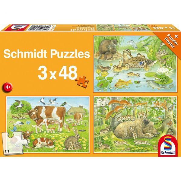SCHMIDT 56222 - Puzzle - Tierfamilien, 3 x 48 Teile