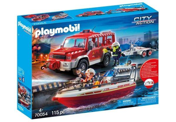 PLAYMOBIL 70054 - City Action - Feuerwehrfahrzeug mit Löschboot