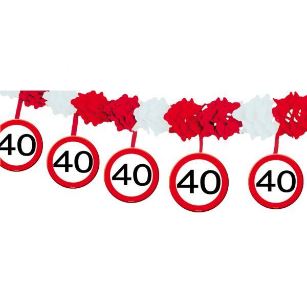 FOLAT 05231 - Geburtstag & Party - 40 Jahre Verkehrsschild Girlande, 4 m