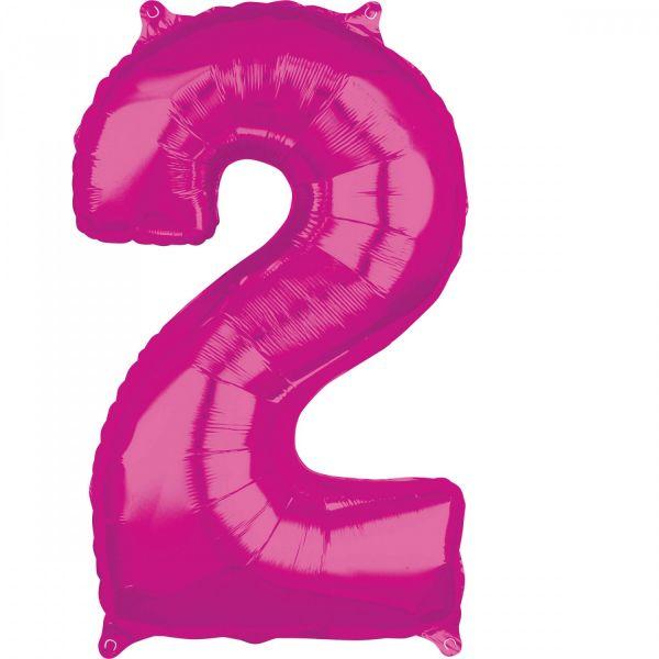 AMSCAN 36617 - Folienballon - Zahl 2, pink, 66 cm