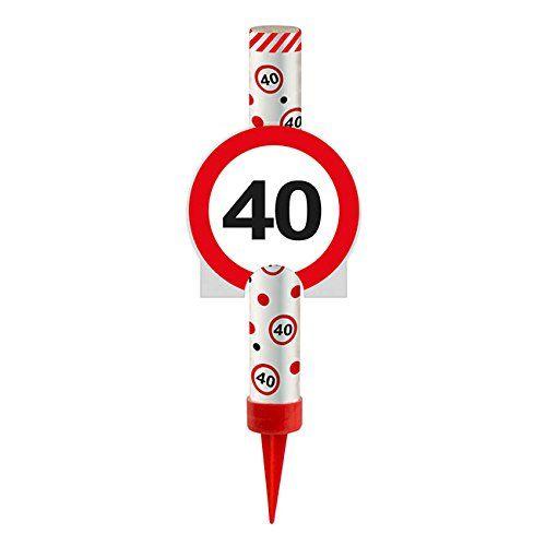 FOLAT 63840 - Geburtstag & Party - Eisfontäne Verkehrsschild 40, 12 cm