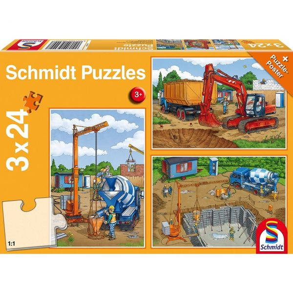 SCHMIDT 56200 - Puzzle - Auf der Baustelle, 3 x 24 Teile