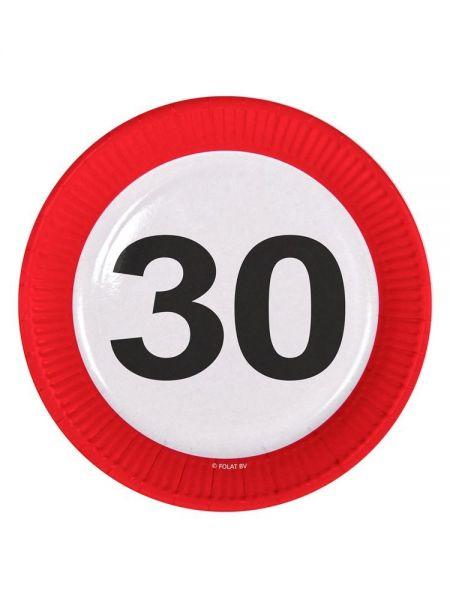 FOLAT 28130 - Geburtstag & Party - 30 Jahre Verkehrsschild Pappteller, 23 cm