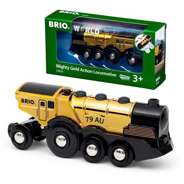 BRIO 33630 - Züge - Goldene Batterie Frachtlok mit Licht und Sound