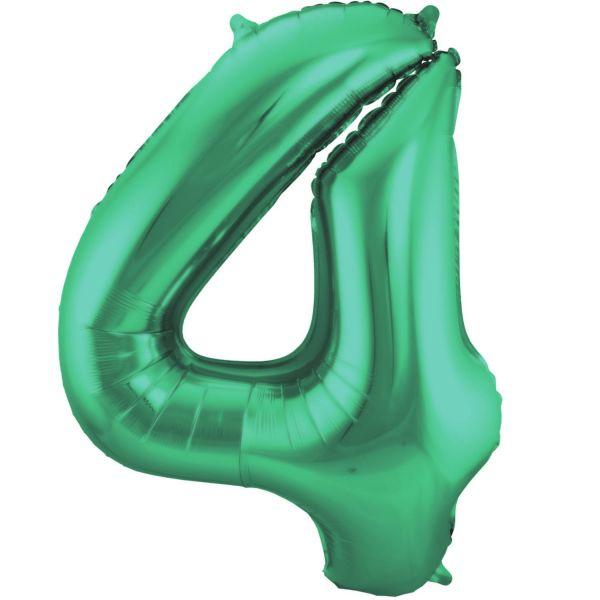 FOLAT 65914 - Folienballon - Zahl 4, Matte Grün, 86 cm