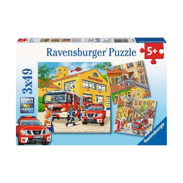 RAVENSBURGER 09401 - Puzzle - Feuerwehreinsatz, 3x49 Teile