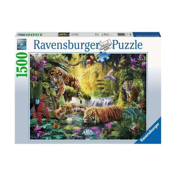 RAVENSBURGER 16005 - Puzzle - Idylle am Wasserloch, Tiger, 1500 Teile