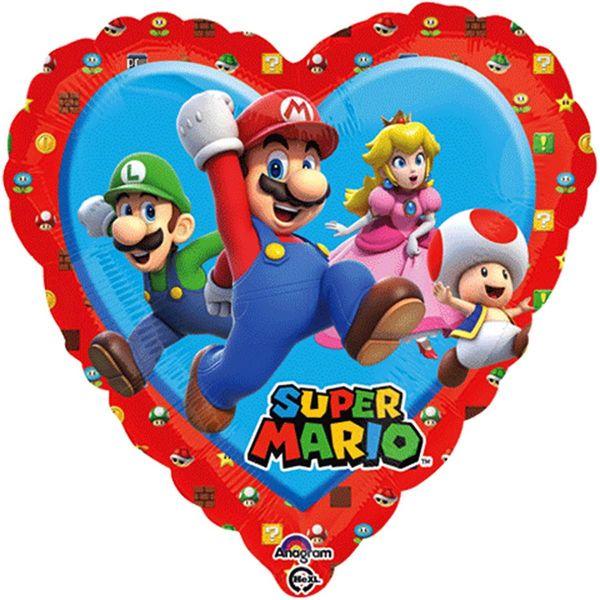 AMSCAN 34303 - Folienballon - Super Mario herzform, 43 cm