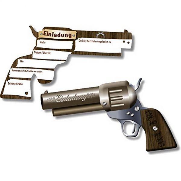 DH 302408 - Geburtstag & Party - Pistole Einladungskarten, 6 Stk., 17 x 10 cm