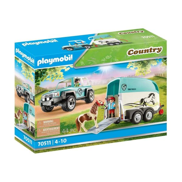 PLAYMOBIL 70511 - Country Ponyhof - PKW mit Ponyanhänger