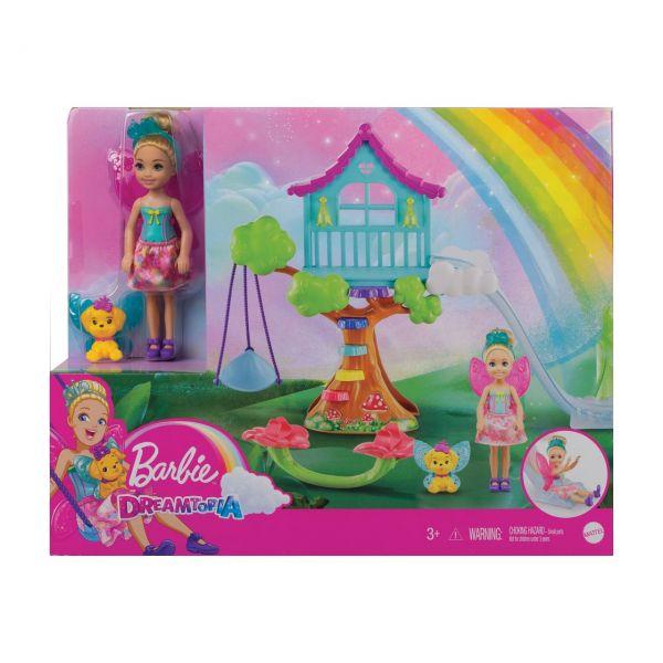 MATTEL GTF49 - Barbie Dreamtopia - Chelsea Regenbogen-Schaukel-Spielset mit Puppe