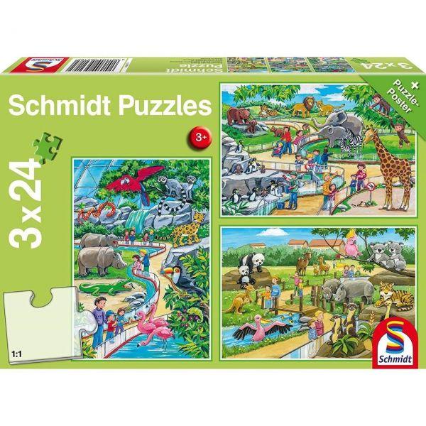 SCHMIDT 56218 - Puzzle - Ein Tag im Zoo, 3 x 24 Teile