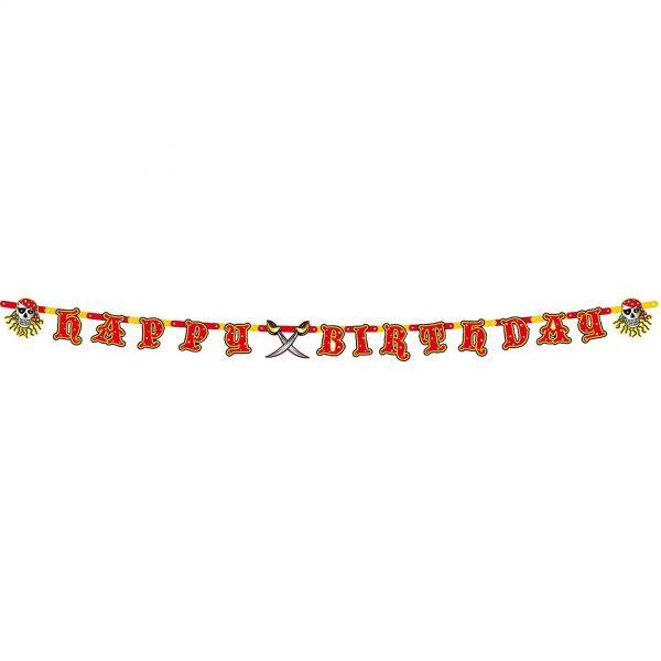 FOLAT 07645 - Geburtstag & Party - Piraten Girlande Happy Birthday, 250 cm