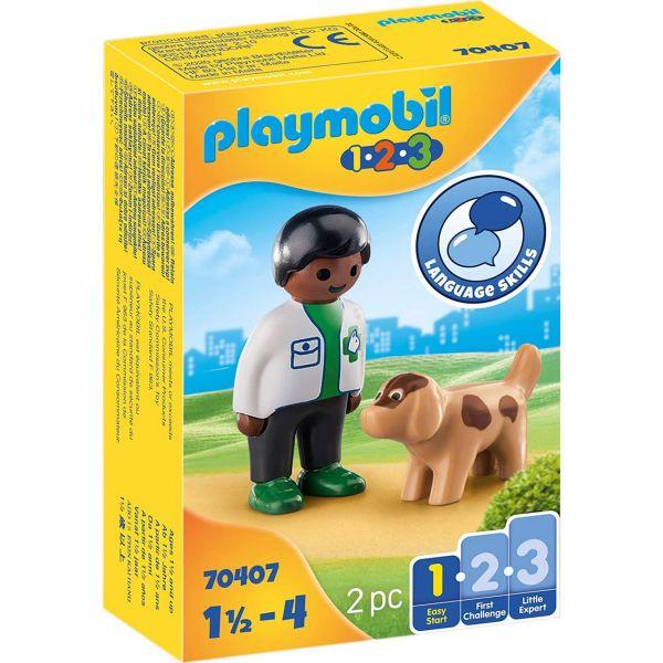 PLAYMOBIL 70407 - 1.2.3 - Tierarzt mit Hund