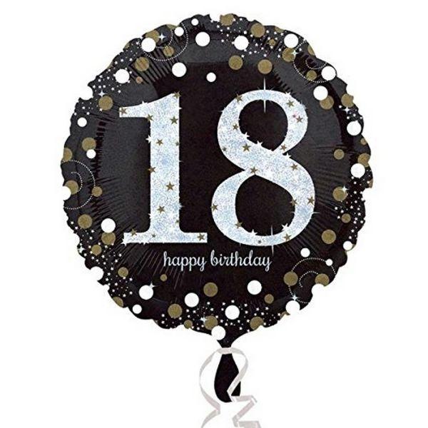 AMSCAN 3323901 - Sparkling Celebrations Gold, 18. Geburtstag - Folienballon, 43 cm