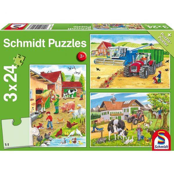 SCHMIDT 56216 - Puzzle - Auf dem Bauernhof, 3 x 24 Teile