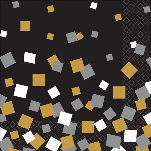AMSCAN 511641 - Sparkling Celebrations Gold - Servietten 33x33 cm, 16 Stk