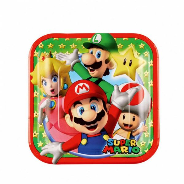AMSCAN 9901536 - Geburtstag & Party - Pappteller Super Mario 8 Stk, 18 cm