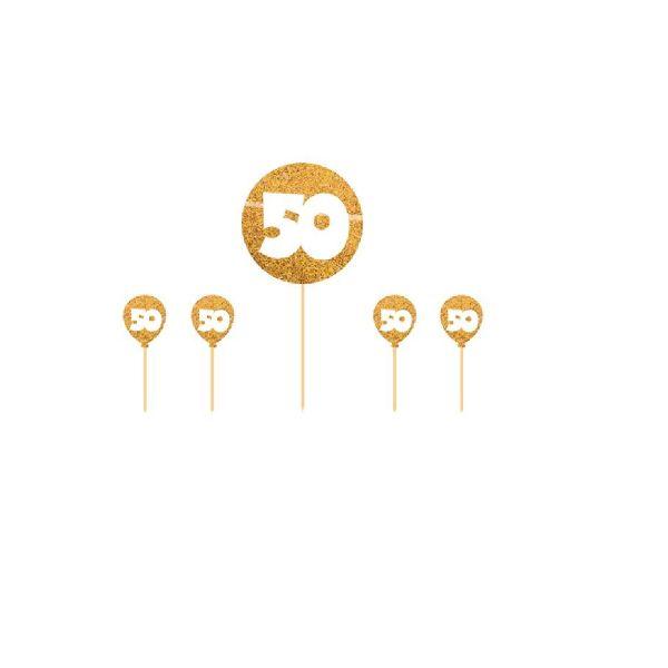 FOLAT 65130 - Geburtstag & Party - Kuchen Deckel, Zahl 50, gold