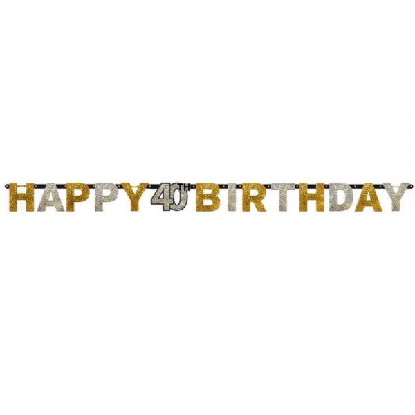 AMSCAN 120204 - Sparkling Celebrations Gold, 40. Geburtstag - Partykette, 213x16,2 cm