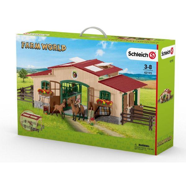 SCHLEICH 42195 - Farm World - Pferdestall mit Pferden und Zubehör