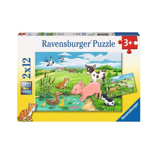 RAVENSBURGER 7582 - Puzzle - Tierkinder auf dem Land, 2x12 Teile