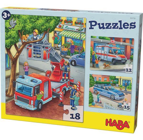 HABA 302759 - Puzzle - Polizei, Feuerwehr und Co.