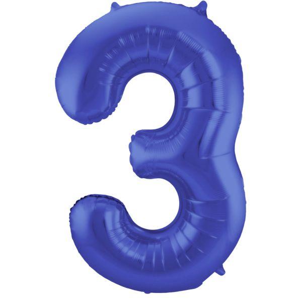 FOLAT 65923 - Folienballon - Zahl 3, Matte Blau, 86 cm