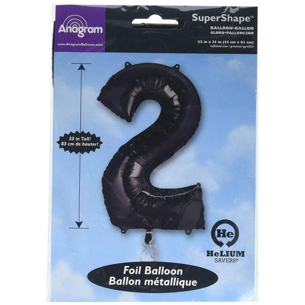 AMSCAN 30141 - Folienballon - Zahl 2, schwarz, 90cm