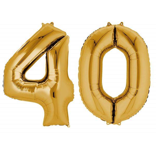 AMSCAN 33871 - Folienballon - Zahl 40, gold, 90cm