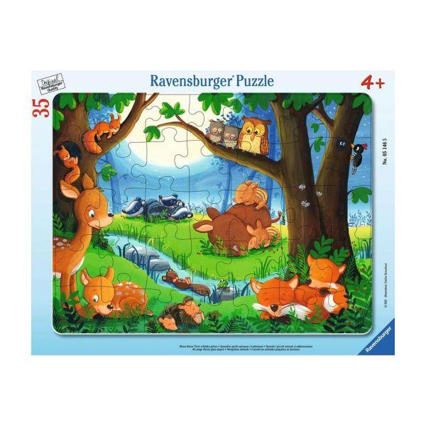 RAVENSBURGER 05146 - Rahmenpuzzle - Wenn kleine Tiere schlafen gehen, 35 Teile