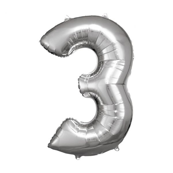 RM 9906288 - Folienballon SuperShape - Zahl 3, silber, 53x83cm