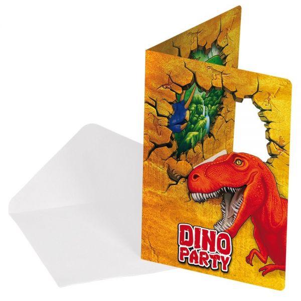 FOLAT 61860 - Geburtstag & Party - Dino Party Einladungskarten - 6 Stk