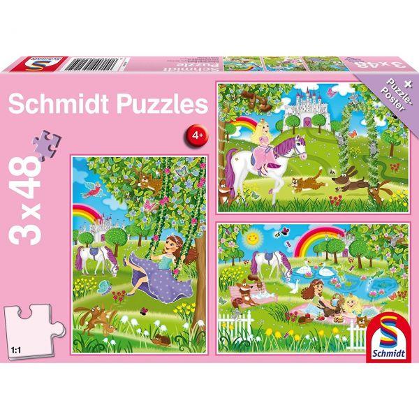 SCHMIDT 56225 - Puzzle - Prinzessin im Schlossgarten, 3 x 48 Teile