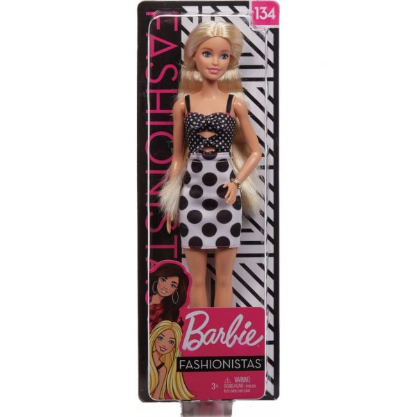 MATTEL GHW50 - Barbie - Fashionistas Puppe (blond) mit Punktekleid