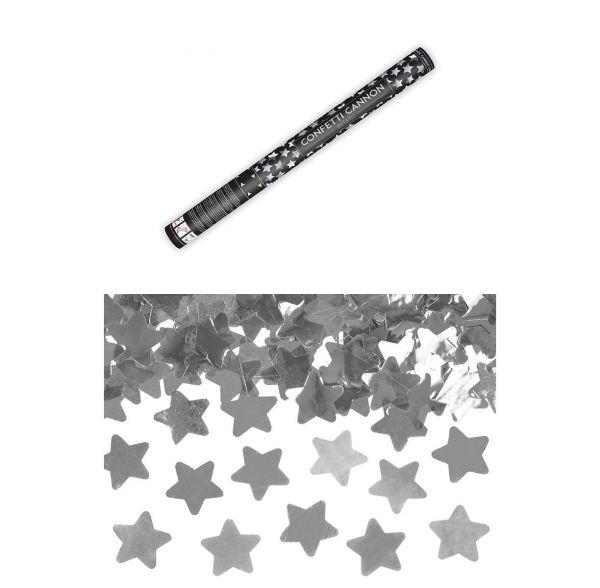 Konfetti Kanone Sterne Silber 60cm