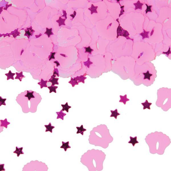 FOLAT 05325 - Geburtstag & Party - Geburt Mädchen Konfetti Babyfüße, rosa