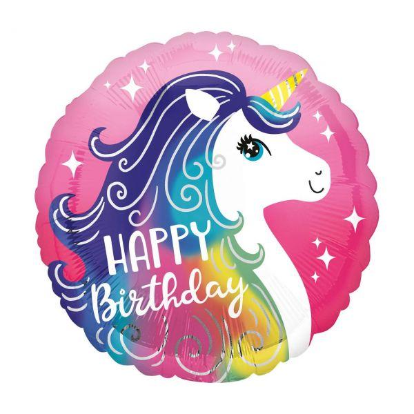 AMSCAN 3962801 - Folienballon - Happy Birthday Pinkes Einhorn, 43cm