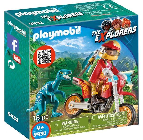 PLAYMOBIL 9431 - The Explorers - Motocross-Bike mit Raptor