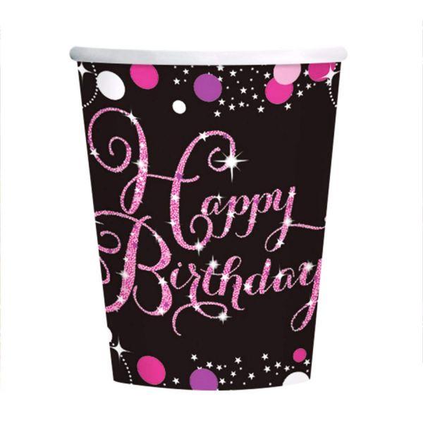 AMSCAN 9900573 - Sparkling Celebrations Pink, Happy Birthday - Papp-Becher, 266ml, 8 Stk.