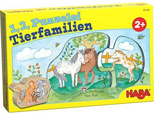 HABA 303308 - 1, 2, Puzzelei - Tierfamilien