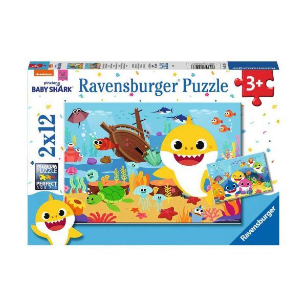 RAVENSBURGER 05123 - Puzzle - Der kleine Baby Hai, 2x12 Teile