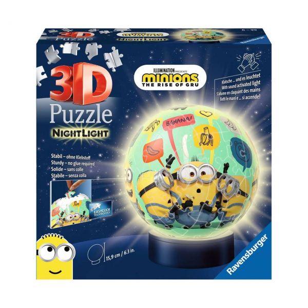 RAVENSBURGER 11180 - 3D Puzzle - Nachtlicht Minions 2, 72 Teile
