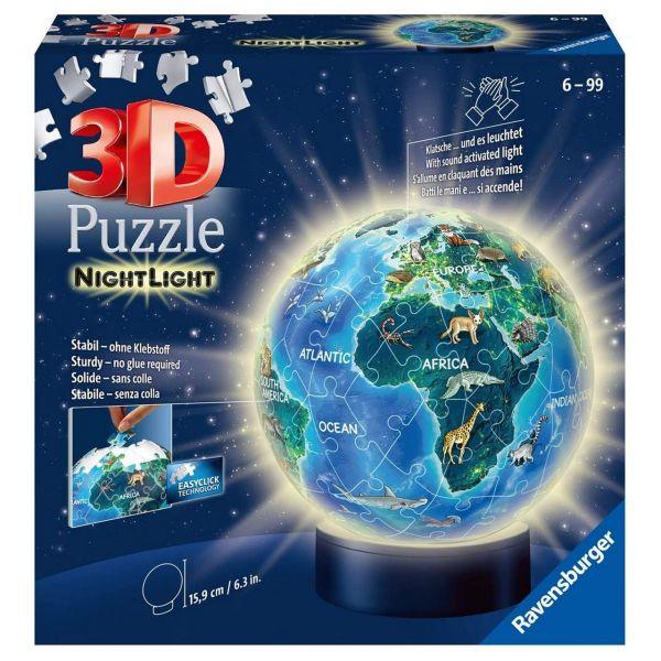 RAVENSBURGER 11844 - Puzzleball - Erde im Nachtdesign Erde bei Nacht, 72 Teile
