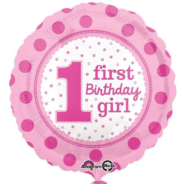 AMSCAN 32540 - Geburtstag & Party - Folienballon 1st Birthday girl, 43 cm