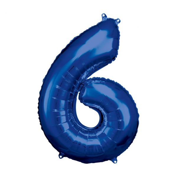 RM 9907286 - Folienballon SuperShape - Zahl 6, blau, 58x86cm